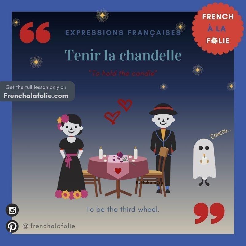 Visual Lesson of French Expression Tenir la chandelle
