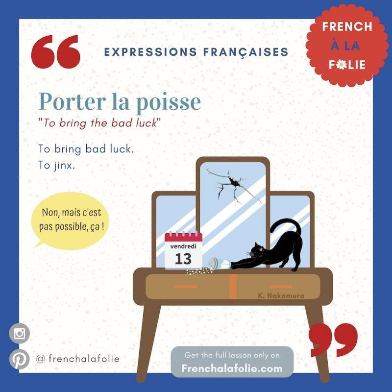 Visual Lesson of French Expression Porter la poisse